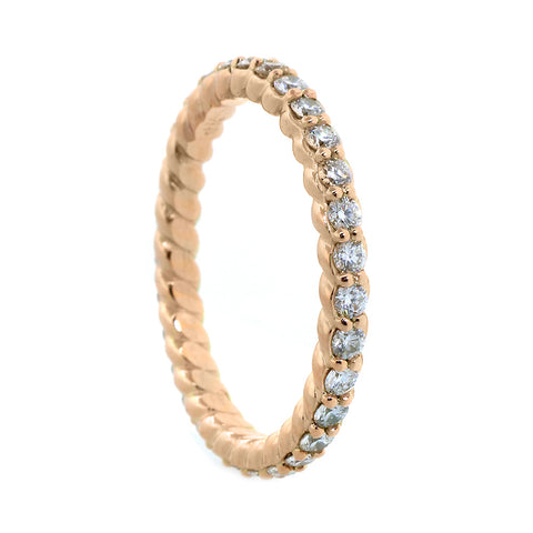 Diamond and Rope Eternity Wedding Band, 0.85CT Total in 14k Pink, Rose Gold