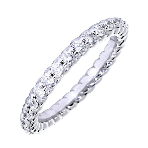 Diamond and Rope Eternity Wedding Band, 0.85CT Total in 14k White Gold