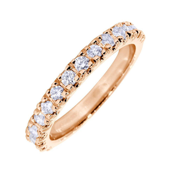 Diamond Wedding Band Set with 4 Prongs, 0.45CT Total in 14k Pink, Rose Gold