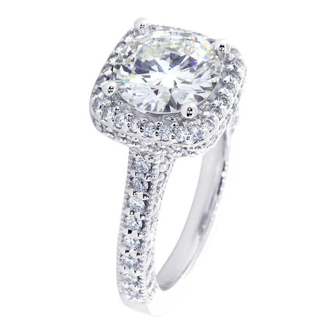 Vintage Look Halo Engagement Ring Setting for a Round Diamond, 1.00CT Total Sides in 14k White Gold