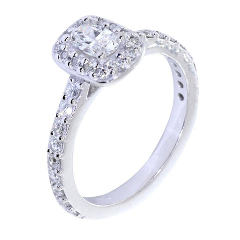 Halo Engagement Ring Setting for an Oval Diamond, 0.71CT Total Sides in 14k White Gold