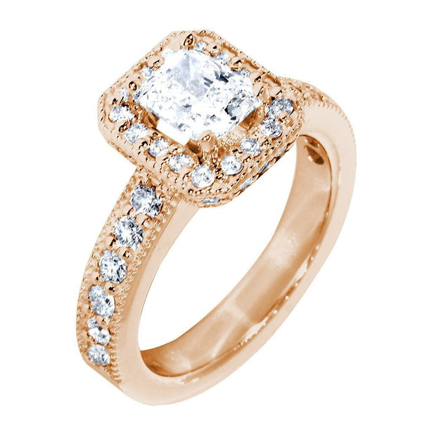 Halo Engagement Ring Setting for a Radiant or Emerald Cut Diamond, 0.71CT Sides in 14k Pink, Rose Gold