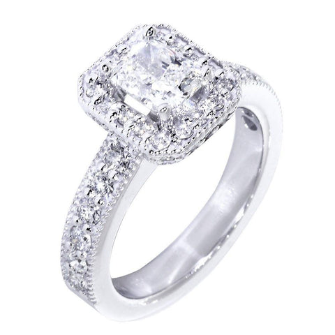 Halo Engagement Ring Setting for a Radiant or Emerald Cut Diamond, 0.71CT Sides in 18k White Gold