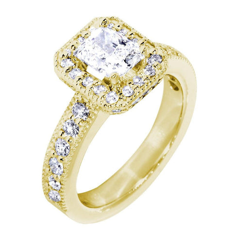 Halo Engagement Ring Setting for a Radiant or Emerald Cut Diamond, 0.71CT Sides in 14k Yellow Gold