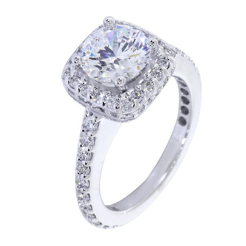 Halo Engagement Ring Setting for a Round Diamond, 0.79CT Total Sides in 14k White Gold