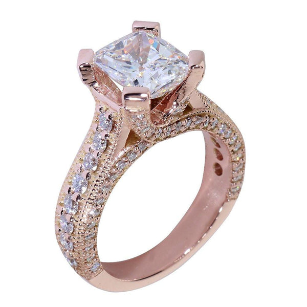 Engagement Ring Setting for a Cushion Cut Diamond, 1.20CT Sides in 14k Pink, Rose Gold