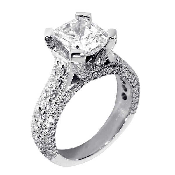 Engagement Ring Setting for a Cushion Cut Diamond, 1.20CT Sides in 18k White Gold