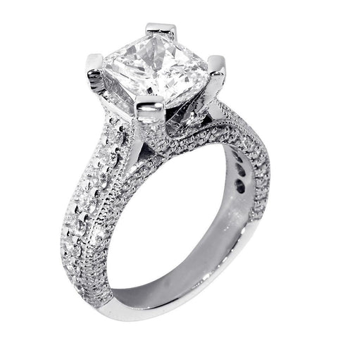 Engagement Ring Setting for a Cushion Cut Diamond, 1.20CT Sides in 14k White Gold