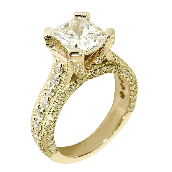 Engagement Ring Setting for a Cushion Cut Diamond, 1.20CT Sides in 14k Yellow Gold