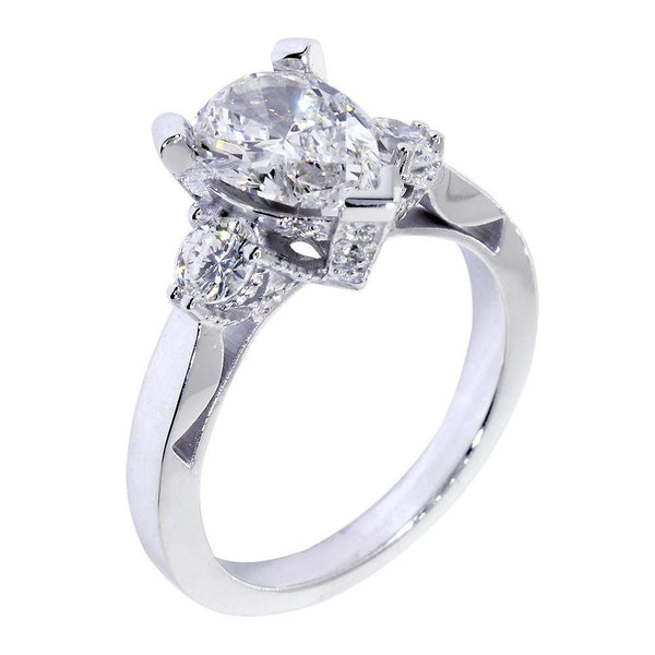 Engagement Ring Setting for a Pear Shape Diamond, 0.72CT Sides in 14k White Gold