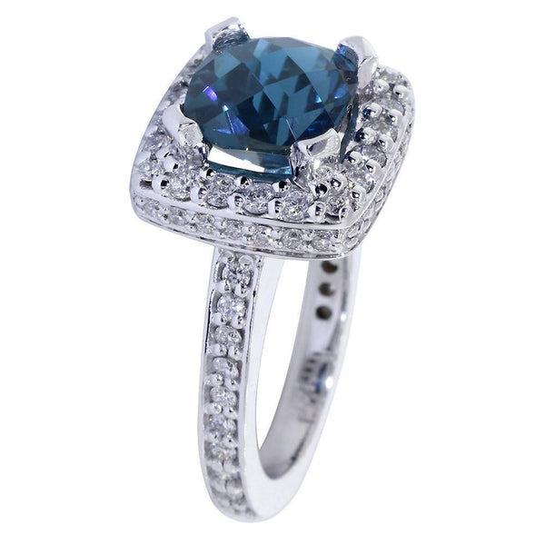 Blue Topaz and Diamond Halo Engagement Ring Setting, 0.91CT Diamonds in 14k White Gold