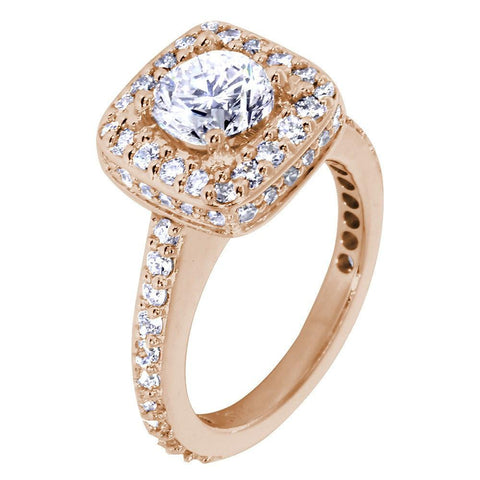 Halo Engagement Ring Setting for a Round Diamond, 1.00CT Total Sides in 14k Pink, Rose Gold