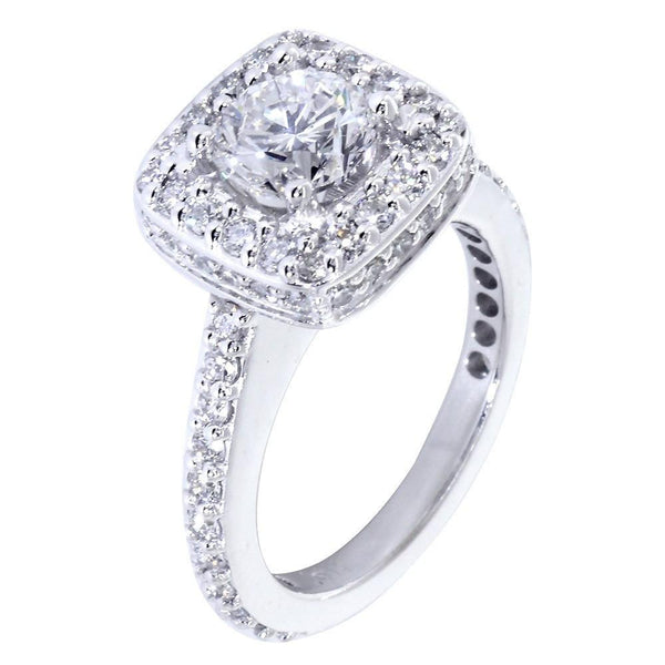 Halo Engagement Ring Setting for a Round Diamond, 1.00CT Total Sides in 14k White Gold