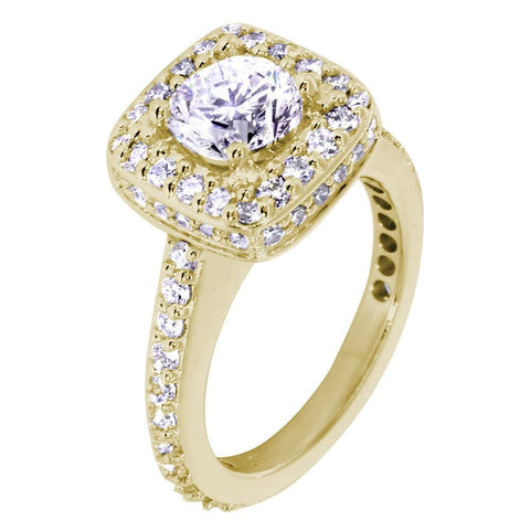 Halo Engagement Ring Setting for a Round Diamond, 1.00CT Total Sides in 14k Yellow Gold