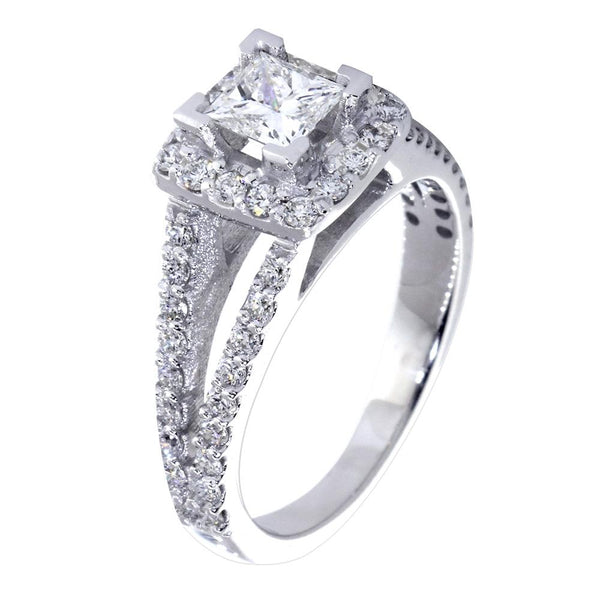 Halo Engagement Ring Setting for a Princess Cut Diamond, 0.70CT Total Sides in 14k White Gold
