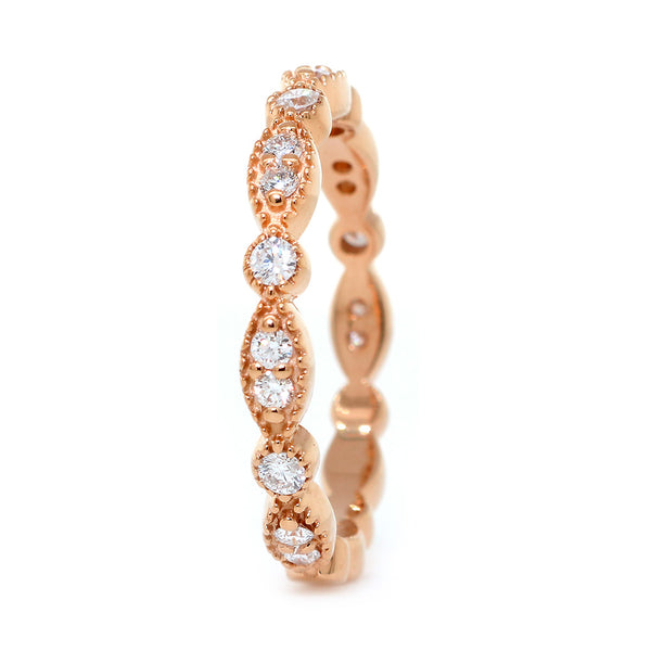 Vintage Style Diamond Band with Repeating Pattern, Set 3/4, 0.25CT in 14K Pink, Rose Gold