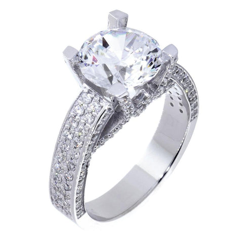 Engagement Ring Setting for a Round Diamond Center, 1.21CT Sides in 14k White Gold