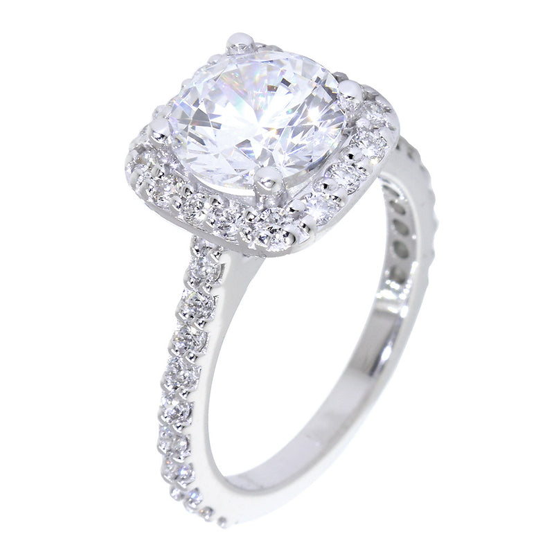 Cushion Halo 1.90CT Round Center Diamond Engagement Ring Setting, 0.66CT Total Sides in 14k White Gold