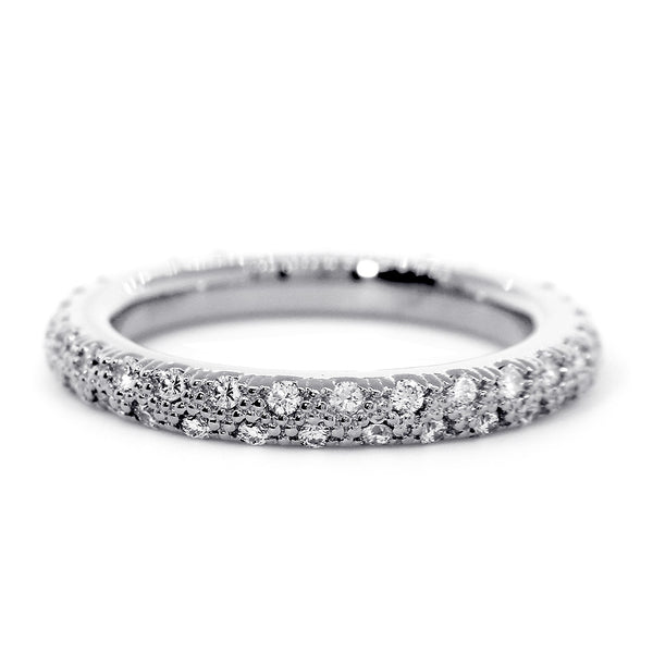 Solid Stackable Diamond Eternity Band, 0.53CT in 14K White Gold