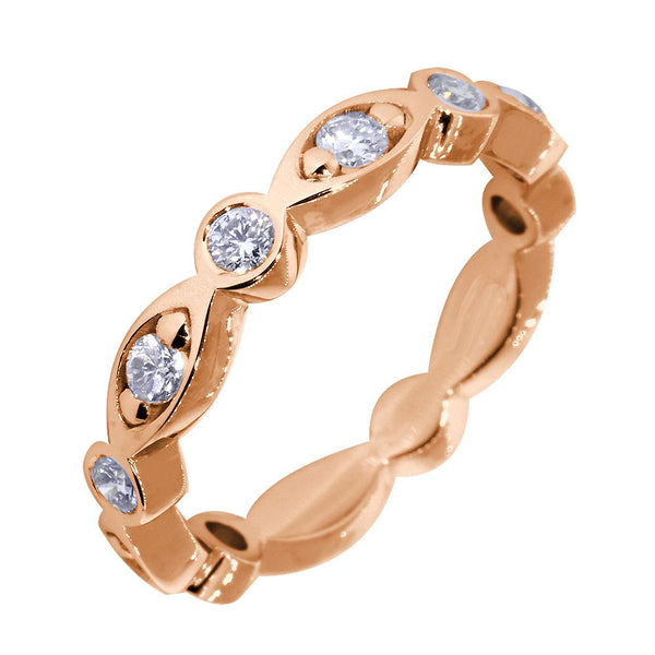 Wedding Band with Alternating Round and Marquise Shape Design, 0.40CT Total in 14k Pink, Rose Gold