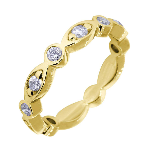 Wedding Band with Alternating Round and Marquise Shape Design, 0.40CT Total in 14k Yellow Gold