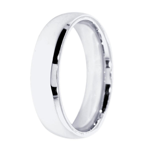 Mens Plain Domed Wedding Band, 5.5mm Wide in 14K White Gold