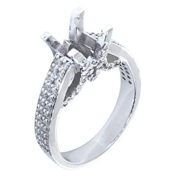 Engagement Ring Setting for a Round Diamond Center, 1.0CT Sides in 14k White Gold