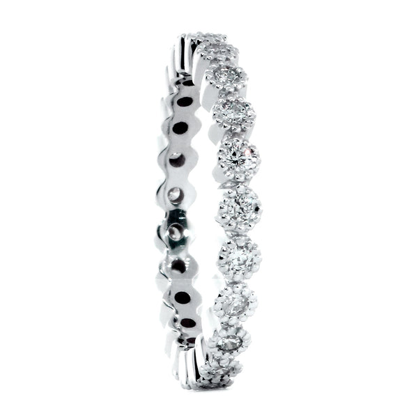 Vintage Style Diamond Eternity Band with Round Bezels, 0.40CT in 14K White Gold
