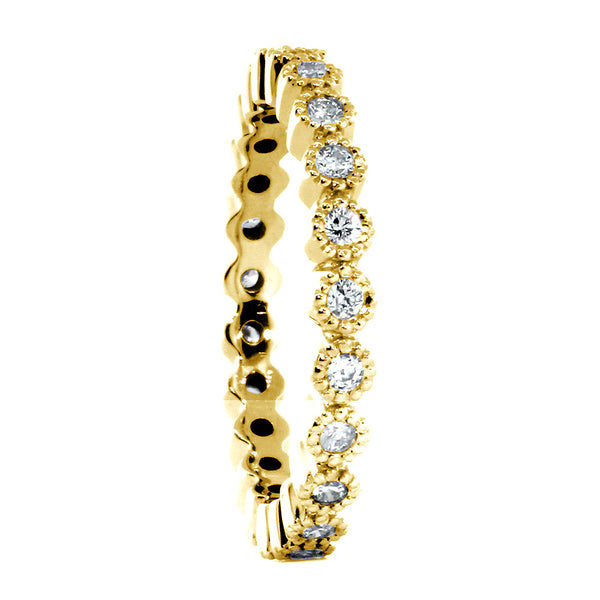 Vintage Style Diamond Eternity Band with Round Bezels, 0.40CT in 14K Yellow Gold