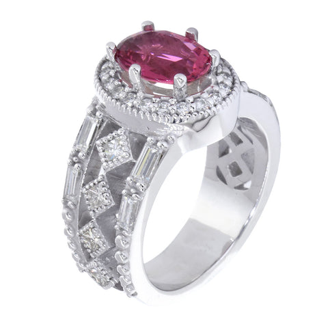Vintage Style Oval Pink Tourmaline and Diamond Halo Engagement Ring Setting, 1.80CT Diamonds in 14k White Gold