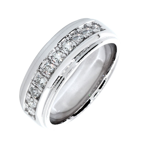 Mens Diamond Ring, 10 Diamonds, 0.62CT in 14k White Gold