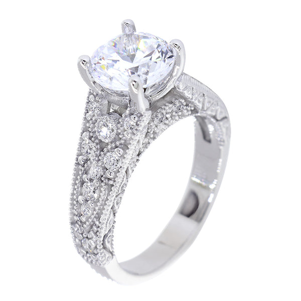 Vintage Design Diamond Engagement Ring Setting, 0.20CT Total Sides in 14k White Gold