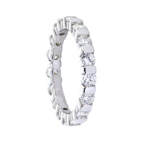 Round Diamonds Channel Set Eternity Band, 1.36CT in 14K White Gold