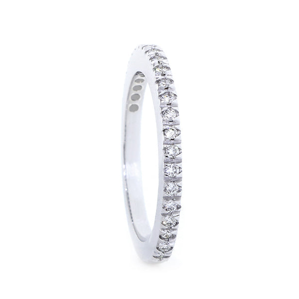 Diamond Wedding Band set Halfway, 0.19CT in 14K White Gold