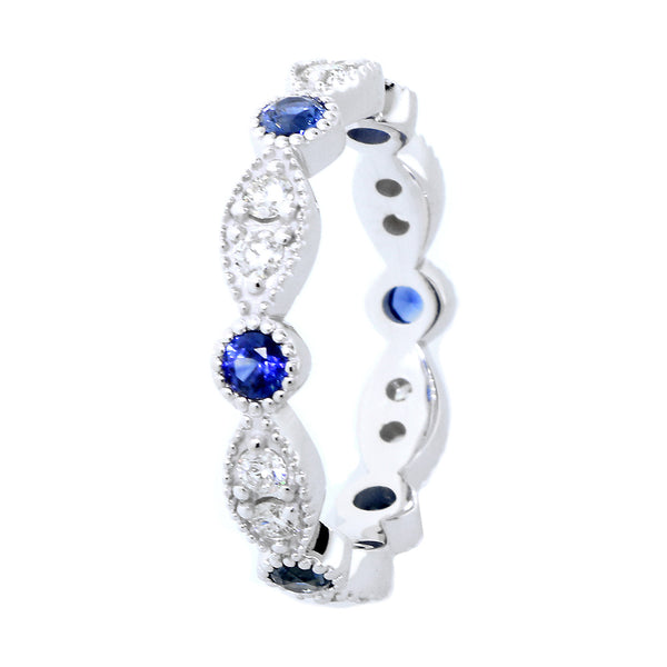 Eternity Band with Round Blue Sapphires and Diamonds, 1.1CT Total in 14K White Gold