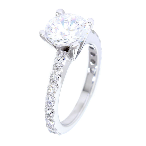 Engagement Ring Setting for a 2CT Round Diamond Center, 8mm, 0.67CT Total Sides in 14k White Gold