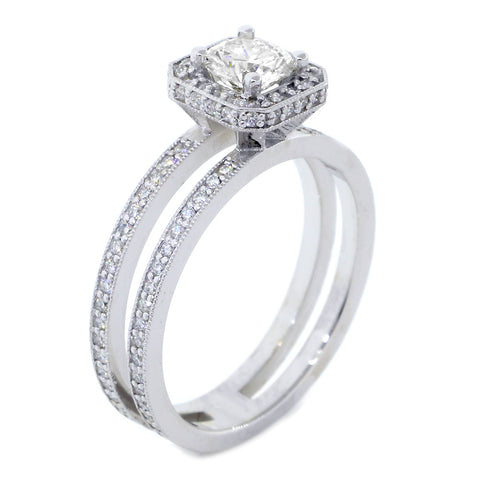 Split Band Halo Engagement Ring Setting for a Round Diamond, 0.50CT Total Sides in 14k White Gold