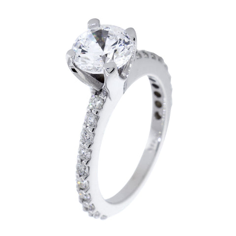 Engagement Ring Setting for a 1.5CT Round Center, 0.60CT Total Diamond Sides in 14k White Gold