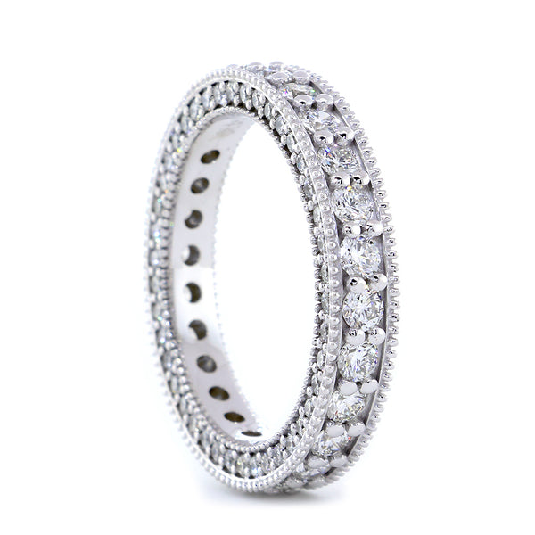 Diamond Eternity Band, Wedding Band, 1.90CT in 14K White Gold