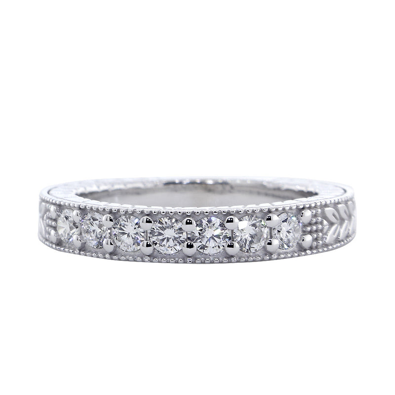 Vintage Style Diamond Wedding Band, 0.45CT in 14K White Gold