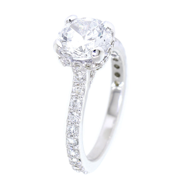 Under Halo Engagement Ring Setting, Round Center, 7.5mm, 0.55CT Total Sides in 14k White Gold