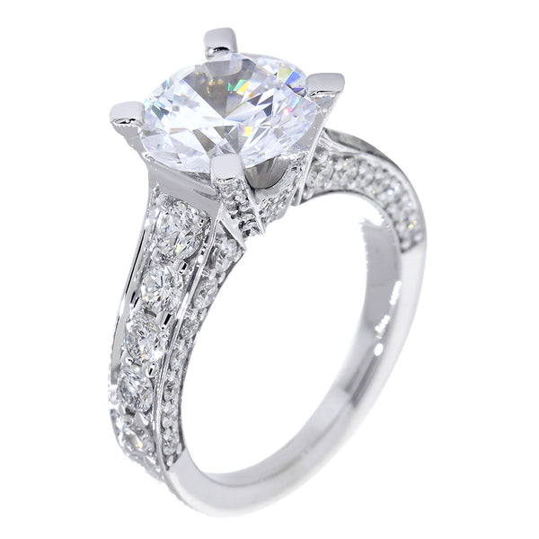 Engagement Ring Setting for a Round Diamond Center, 1.68CT Total Sides in 14k White Gold