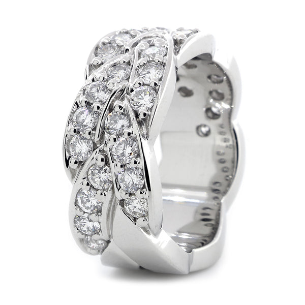 Braided Design Diamond Band, 1.65CT in 14K White Gold
