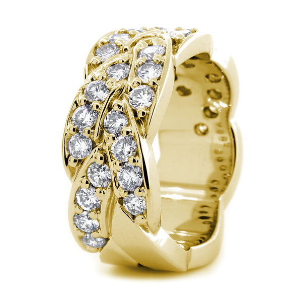 Braided Design Diamond Band, 1.65CT in 14K Yellow Gold