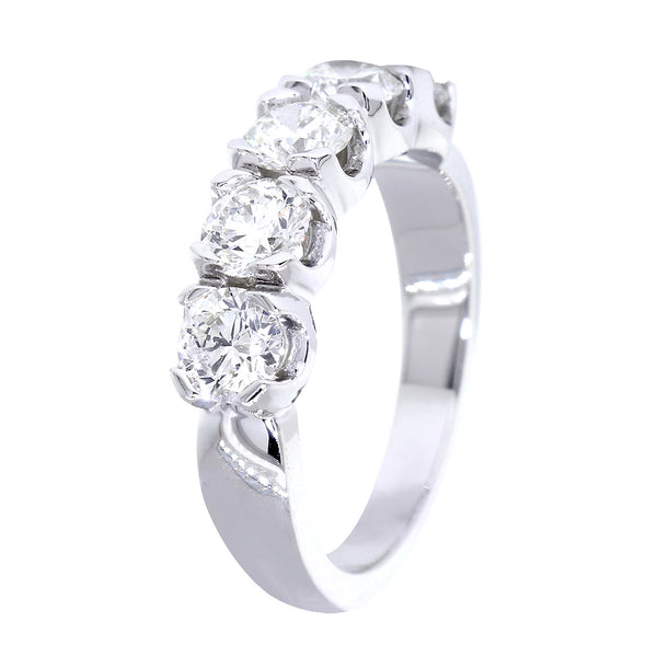 GIA Certified Diamond Wedding Band, 1.50CT Total Sides in 14k White Gold