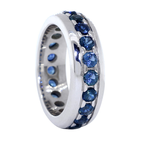 Mens Blue Sapphire Eternity Band, 2.90CT in 14k White Gold