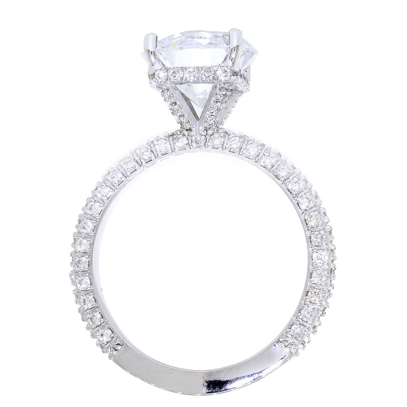 All Over Diamonds Engagement Ring Setting, 0.60CT Total Sides in 14k White Gold