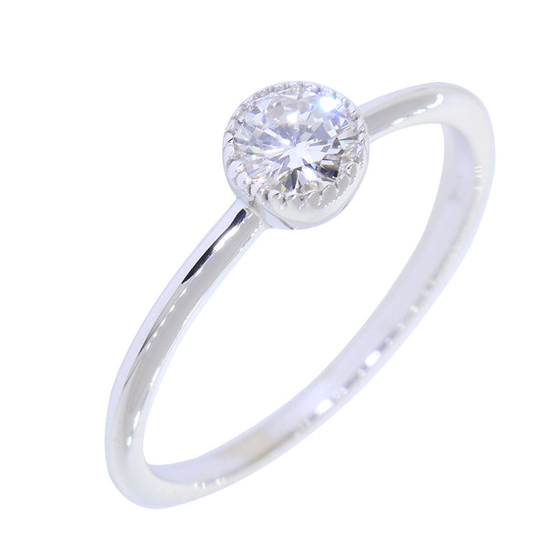 Bezel Style Ladies Ring, Single Round Diamond, 0.22CT in 14K White Gold