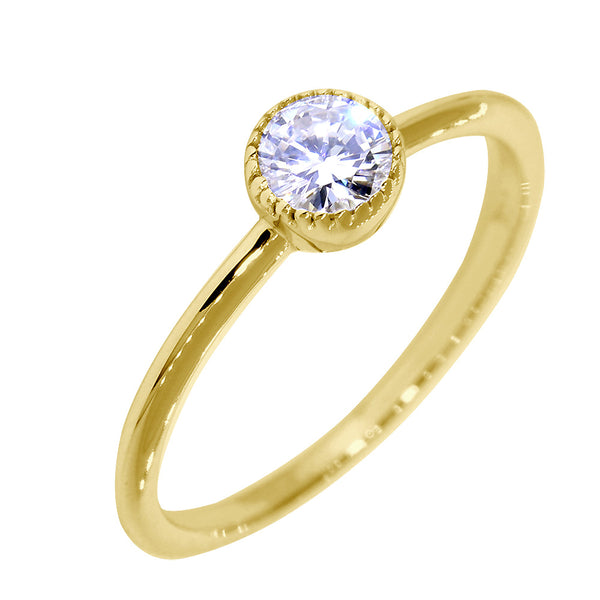 Bezel Style Ladies Ring, Single Round Diamond, 0.22CT in 14K Yellow Gold