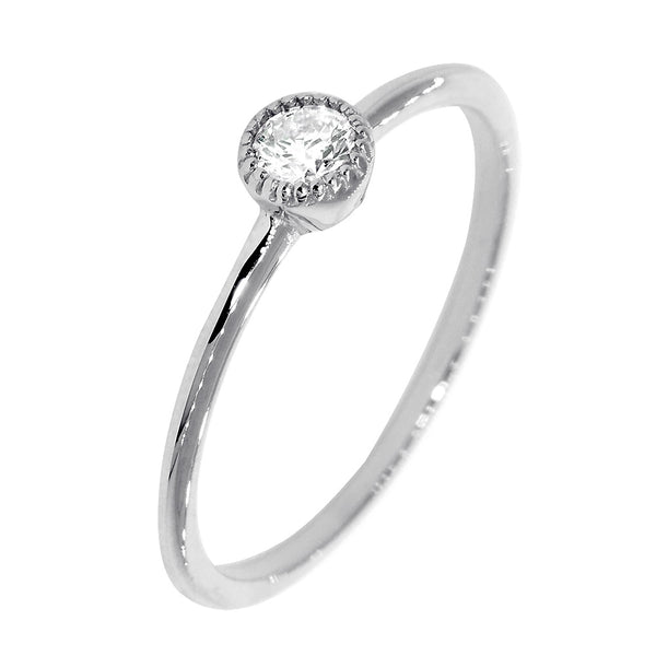 Bezel Style Ladies Ring, Single Round Diamond, 0.13CT in 14K White Gold